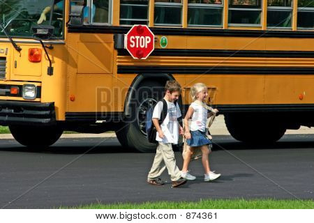 Children Getting Off The Bus