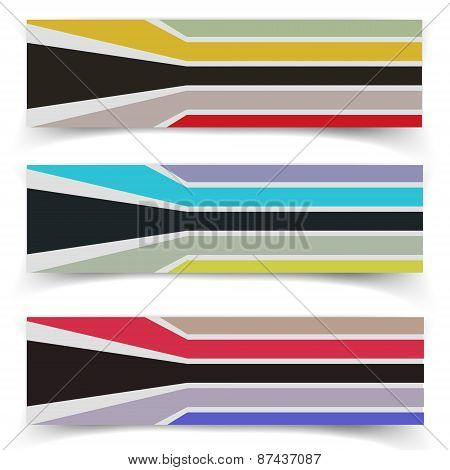 Striped fabric textured vector banners