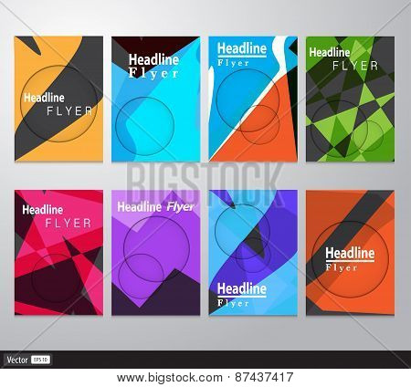 Set Of Flyer, Brochure Design Templates. Geometric Triangular Abstract Modern Backgrounds. Vector Il