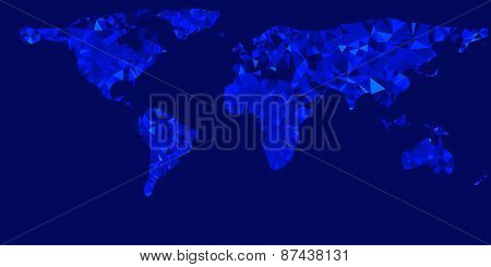Vector world map illustration with glowing blue triangles