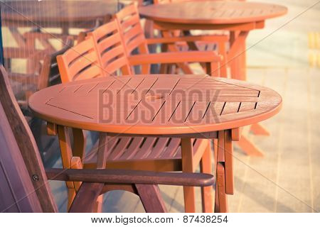Wooden Chair And Table Outdoor.nef