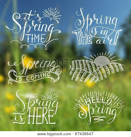 Spring blurred background with labels