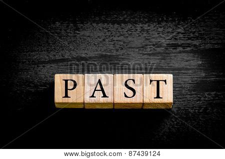 Word Past Isolated On Black Background With Copy Space
