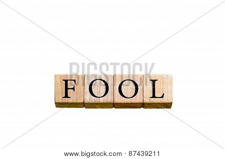 Word Fool Isolated On White Background With Copy Space
