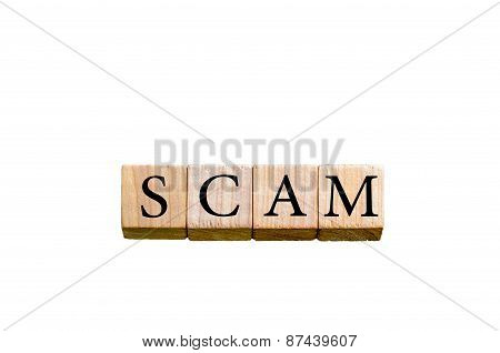 Word Scam Isolated On White Background With Copy Space