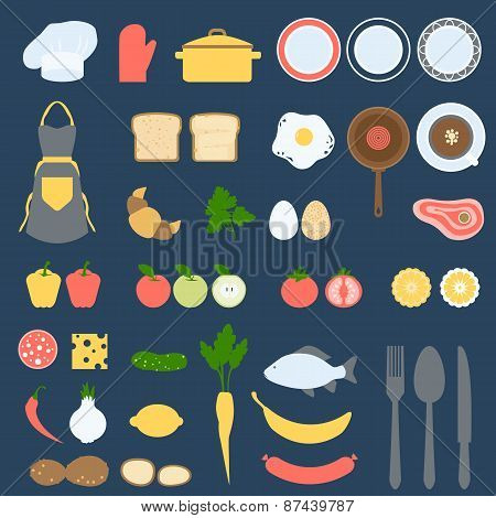 Recipe Card and Cook Book Design Set, Flat Vector Illustration
