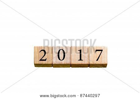 Year 2017 Isolated On White Background With Copy Space