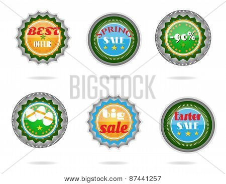 Set, collection of modern, metal, green, blue Easter labels with text - Big Sale, Best Offer, Best C
