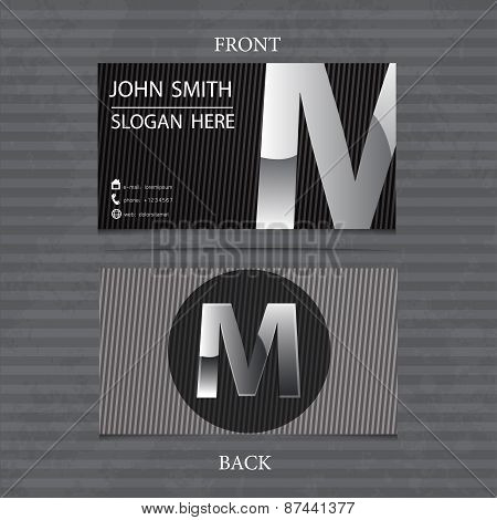 Creative Metal Business Card Letter M. Vector Illustration With Lines.