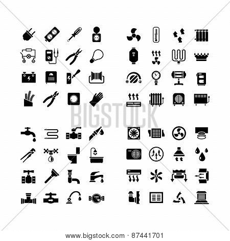 House System Icons. Set Icons Of Electricity, Heating, Plumbing, Ventilation
