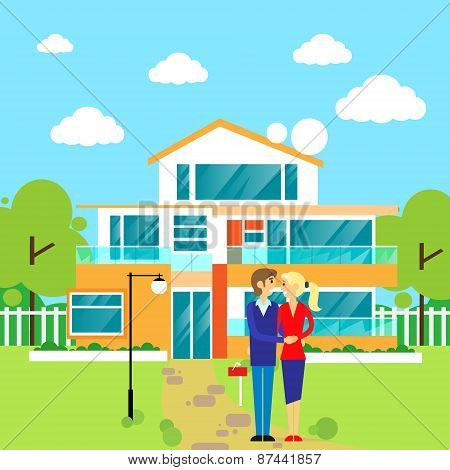 couple embracing in front of new big modern house, dream