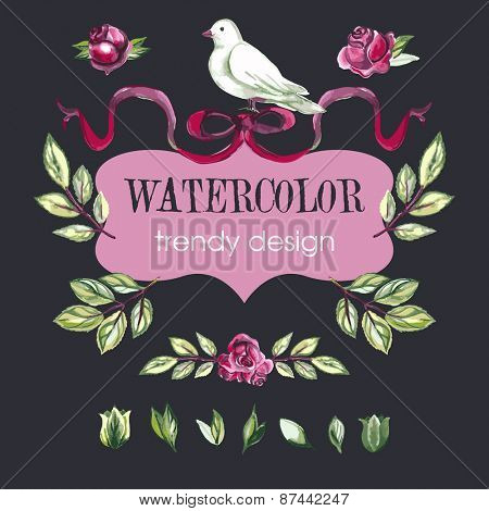 Watercolor Floral Set of Design Elements, Including Rose Flowers, Leaves, Wreaths, White Dove.