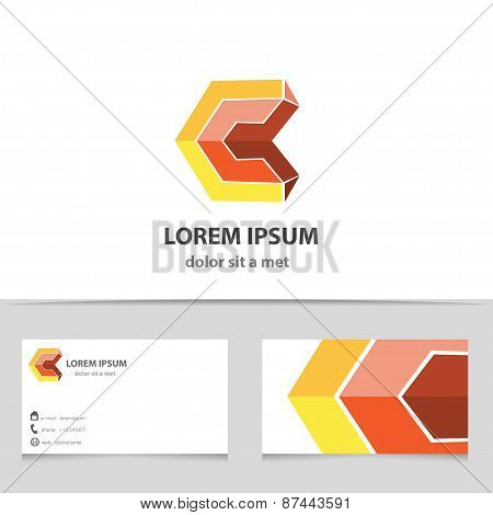 Vector Abstract 3D Logo Design Letter C.