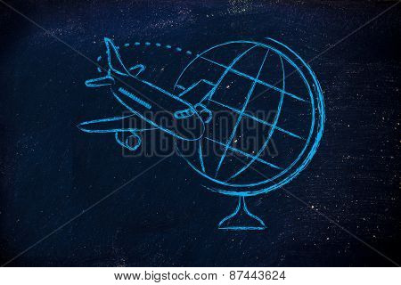 Travel Industry: Airplane And Flying Around Globe