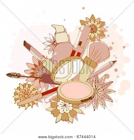 Beauty Make Up Tools Art Drawing, Vector Illustration