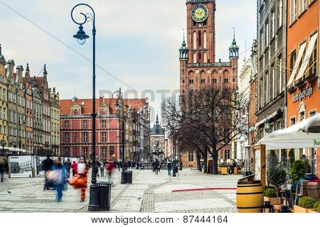 Gdansk, Poland - March 14, 2014: Gdansk, Long Market. Old Town. The Town Hall and Artus Court.
