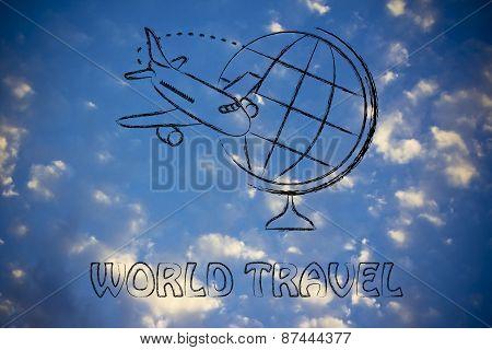 World Travel: Airplane And Flying Around Globe