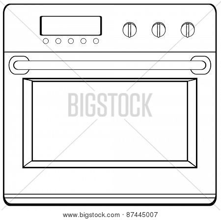 Single electronic oven with handle and screen