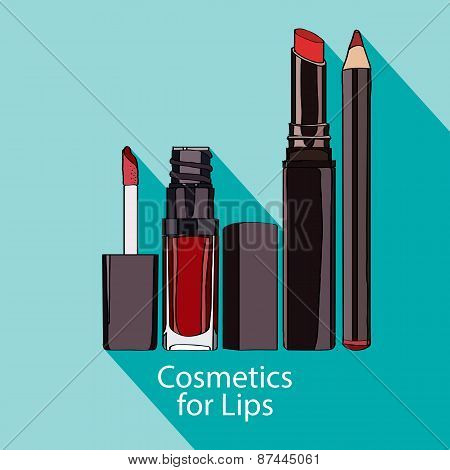 Cosmetics for Lips style flat