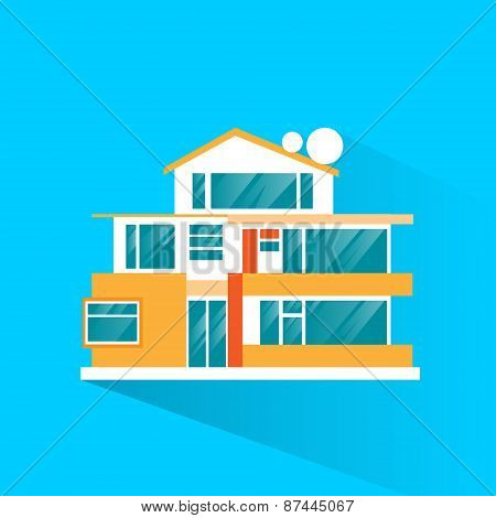 big modern villa house icon flat design vector