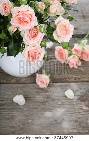 Beautiful Pink Roses In A White Jug