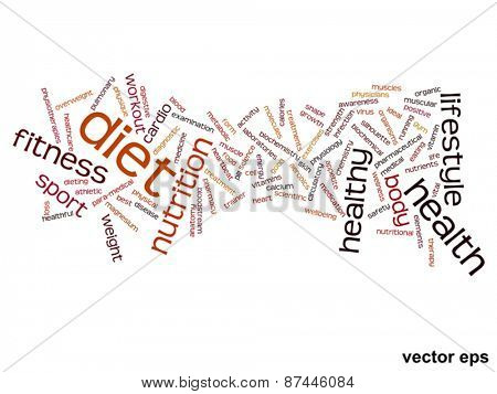 Vector concept or conceptual abstract health word cloud or word cloud isolated on background