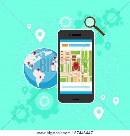 mobile cell phone world map gps globe navigation
