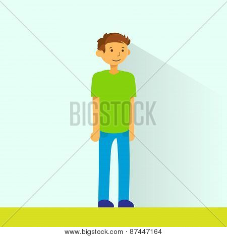 Casual Man Standing Full Legnth Colorful Flat