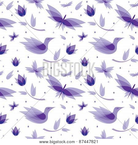 vector seamless pattern abstract flowers, birds