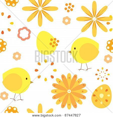 vector seamless pattern abstract background chickens and flowers