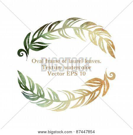 oval frame of laurel leaves