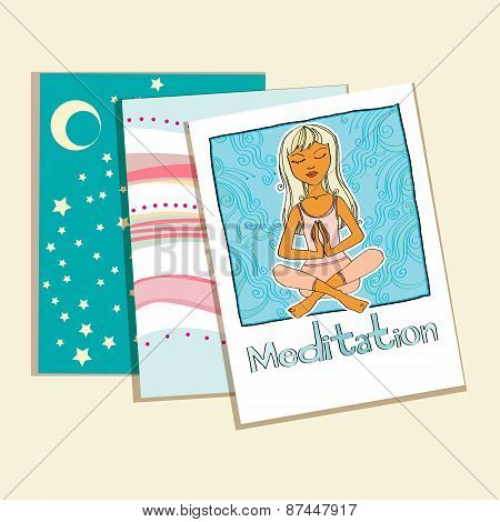 Meditation. set of greeting cards