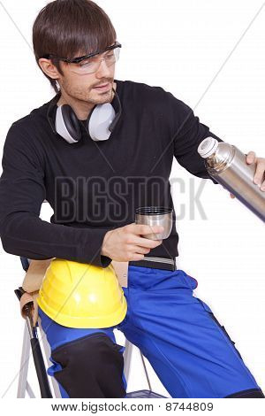 Construction Worker Drinking Coffee