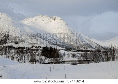 Mountain At Winter In Svolvaer, Lofoten, Norway