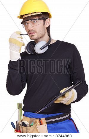 Thinking Worker With Clipboard