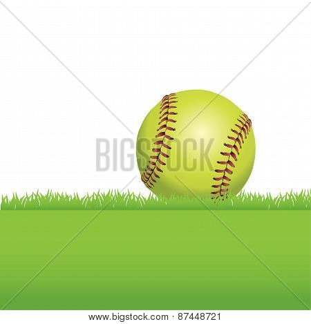 A Softball Sitting On Grass Illustration