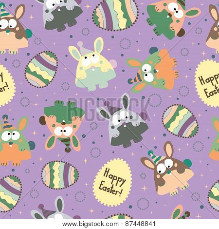 Seamless pattern with Easter eggs and bunnies.