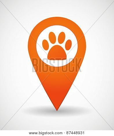 Map Mark Icon With A Footprint