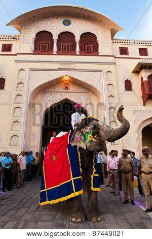 Jaipur, India - March 29, 2009 : people and elephants of the city are celebrating the gangaur festival one of the most important of the year march 29 2009 in jaipur,rajasthan,india