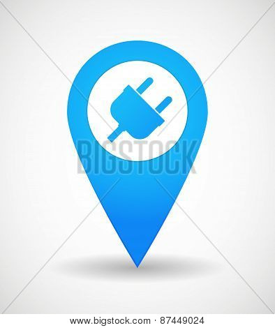 Map Mark Icon With A Plug