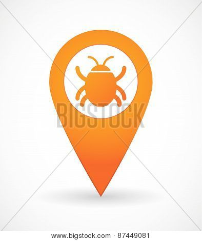 Map Mark Icon With A Bug