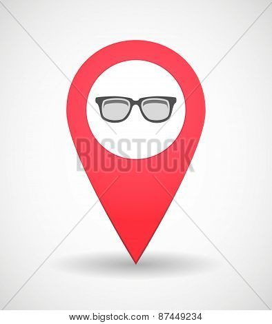 Map Mark Icon With A Glasses