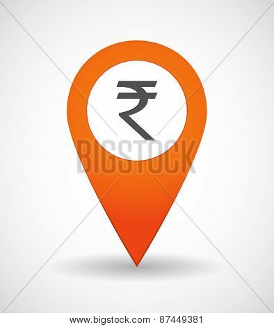 Map Mark Icon With A Rupee Sign