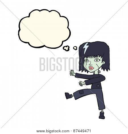 cartoon zombie girl with speech bubble