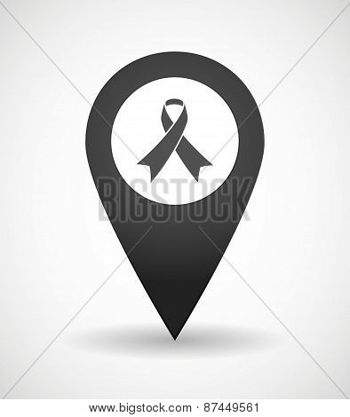 Map Mark Icon With An Awareness Ribbon
