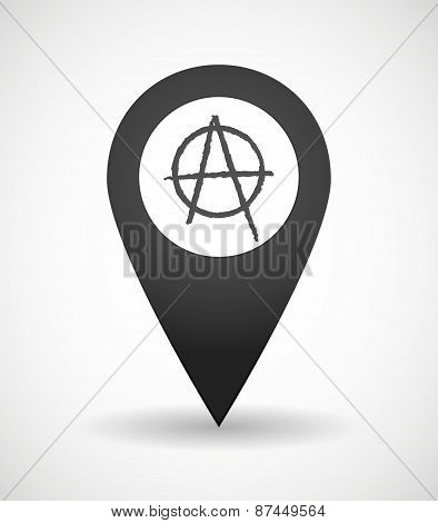 Map Mark Icon With An Anarchy Sign