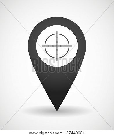 Map Mark Icon With An Aim Sign