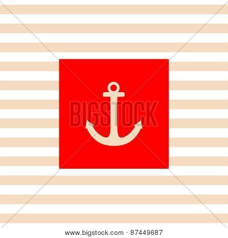 Nautical vector card with white anchor, red background and pastel stripes