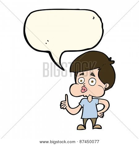 cartoon boy giving thumbs up with speech bubble