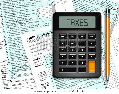 U.s. Individual Income Tax Return Form 1040 With Calculator And Pencil